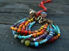 Multi strand bracelet hippie bohemian bracelet by BeadStonenSkin, €44.08