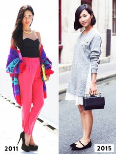 Then and now: Nicole Warne of Gary Pepper Girl wearing a vibrant sweater, black strapless top, and hot pink trousers in 2011 and a long grey sweater with white panel and pleated dress in 2015