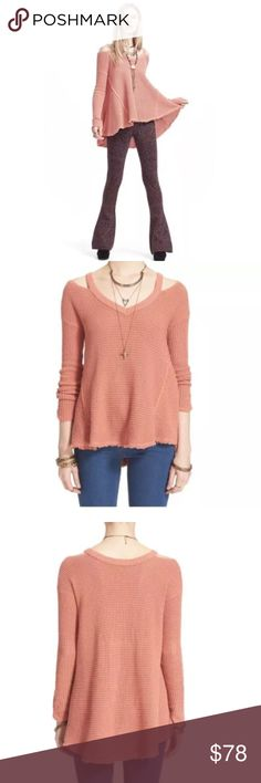 """NWT FREE People Moonshine Cold-Shoulder Sweater NWT Free People Moonshine V-neck thermal sweater featuring a ribbed neckline framed by cold-shoulder cutouts and a flippy, raw-edge hem style. Oversized sweater cut from cozy cotton in a breathable honeycomb knit. Size S 🌀 26"""" front length; 29.5"""" back length  🌀 100% cotton. 🌀 Hand wash cold, dry flat. ❣ Hard to find. Sold out color❣ Free People Sweaters V-Necks"""