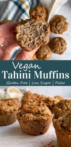 These Vegan Tahini Banana Muffins are made with tahini, grain free flours and only sweetened with bananas. Furthermore, this healthy muffin recipe is Paleo, Vegan and free of the top 8 allergens. Great for breakfast, an on-the-go snack and loved by kids and toddlers. #kidfood #paleokids #veganmuffins #tahinimuffins #bananamuffins #tahinibanana Paleo Banana Muffins, Vegan Muffins, Gluten Free Muffins, Paleo Vegan, Vegan Baking, Nut Free, Grain Free, Paleo Kids, Mini Bananas