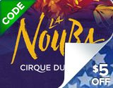 Experience the imaginative costumes and daring acrobats of La Nouba shows by Cirque du Soleil and save $5 off $40 with discount Venue Kings Cirque du Soleil Orlando Tickets!  Book online by Tuesday, June 21st for performance dates this summer.