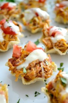 The perfect Game Day appetizer - Chicken Enchilada Bites with a Green Chile Enchilada Cream Sauce!