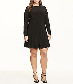 Lauren Ralph Lauren Plus Long Sleeve Jersey ALine Dress #Dillards