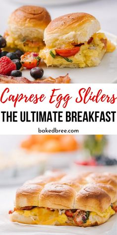 Caprese Egg Sliders is the ultimate breakfast recipe. Kings Hawaiian Rolls, fluffy eggs, bacon, tomato mixture and more come together for the best breakfast sandwich ever. Best Breakfast Sandwich, Breakfast Slider, Best Breakfast Recipes, Savory Breakfast, Brunch Recipes, Brunch Ideas, Egg Recipes, Pork Recipes, Breakfast Ideas