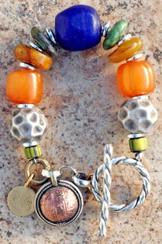 Moroccan-Inspired Silver, Amber, Turquoise and Cobalt Charm Bracelet