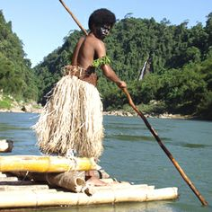#Fijian #warrior on traditional bamboo raft (Bilibili). #Culture #Travel