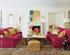oversize rabbit rug hand-stenciled in a leopard print to unite the room's glamorous furnishings.