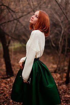 Green full skirt and cream top