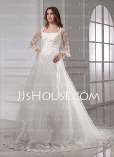 Wedding Dresses - $216.99 - A-Line/Princess Square Neckline Chapel Train Satin Tulle Wedding Dresses With Lace (002015458) http://jjshouse.com/A-line-Princess-Square-Neckline-Chapel-Train-Satin-Tulle-Wedding-Dresses-With-Lace-002015458-g15458