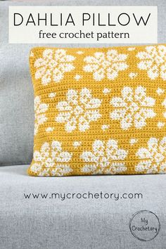 Dahlia Pillow - free crochet pattern with chart by www.mycrochetory.com