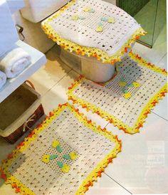 CROCHE COM RECEITA: Tapetes em crochê bem simples para o banheiro