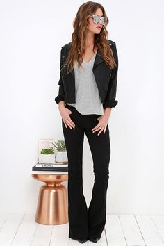 Road Runner Black Flare Jeans at Lulus.com! EVERYTHING!