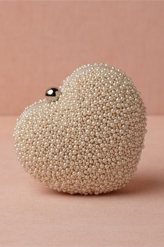 Pretty beaded heart shaped pearls evening clutch!