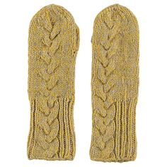 Lowie  Virgin Wool Cable Knit Mittens in Yellow Marl: New for 2015, Lowie loves these virgin wool cable knit mittens in delectable lemon yellow marl. They feature a chunky cable knit detail down the full length of the front and have a chunky knit hem. These woolly gloves will see you through winter and will make ideal Christmas gifts too! Lovingly made by home workers in China who are all experts in the age-old craft of hand-knitting.