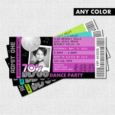 DISCO TICKET INVITATIONS 70's Dance Birthday Party - (print your own) Personalized Printable - Any Color!
