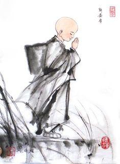 权迎升禅画:佛门小和尚_道频_腾讯网 Japanese Painting, Chinese Painting, Japanese Art, Tibetan Buddhism, Buddhist Art, Buddha Zen, Art Inspiration Drawing, Japanese Calligraphy, China Art
