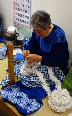 A live demonstration of shibori work (Japanese tie-dye), at the Arimatsu-Narumi Shibori Kaikan. January 2015