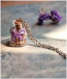 SALE Glass Bottle Necklace Summertime miniature by lePetitFoyer, $22.00