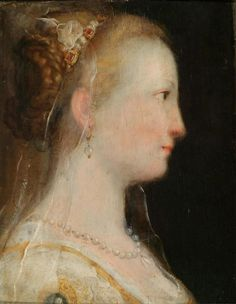 Federico Barocci (Urbino 1535–1612), Study of the head of a lady in profile, The present painting is related to Federico Barocci´s important altarpiece with the Sette Opere di Misericordia, known as the Madonna del Popolo, (Galleria degli Uffizi, Florence) painted in the 1570s.