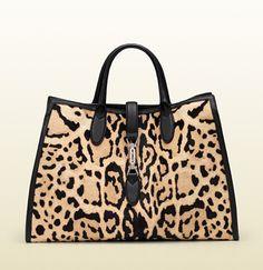 f42f0413e0a9 Gucci - leopard print calf hair top handle bag 362970CPR1N9071 Black Gucci  Purse