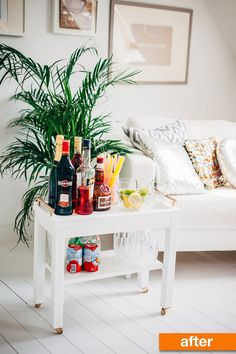 Turn a plain side table into a chic bar cart by borrowing idea's from Kata's stylish, DIY project. In her case, she began with the $50 IKEA NORNÄS table.