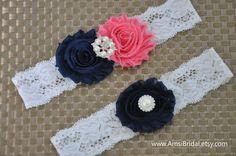 Salmon garter Set,Navy Blue Garters,Dark Blue garters,Garters Sets,Coral Pink toss Garter,Navy blue Wedding,Pink Coral wedding,Custom garter