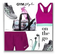 """""""On the go.."""" by arethaman ❤ liked on Polyvore featuring NIKE, Lucas Hugh, Asics, KORA Organics by Miranda Kerr, Philips, Vooray, sportswear, sportsgear and gymessentials"""