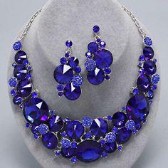 194057 Chunky Royal Cobalt Blue Crystal Rhinestone Silver Formal Evening Necklace Set Elegant Costume Jewelry
