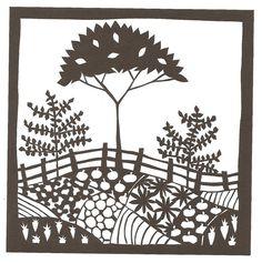 Folk Art Tree and garden papercutting by VegasLammy, via Flickr
