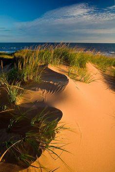 Las dunas de la porción Brackley en el parque nacional Isla Príncipe Eduardo, situado a lo largo de la costa norte de la isla, frente al Golfo de San Lorenzo, Canadá.