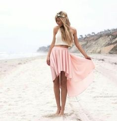 I love it all! Pink California Skirt White Top Blonde