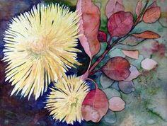 Aquarellkurs: Chrysanthemen und Astern – Leuchtende Herbstfarben | Chrysanthemen als Blumengruß (c) Aquarell von Frank Koebsch
