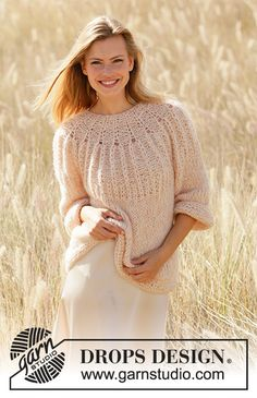 Summer Peach / DROPS - Free knitting patterns by DROPS Design Summer Peach - Knitted jumper in DROPS Air and DROPS Brushed Alpaca Silk. Piece is knitted top down with Fisherman's rib. Drops Design, Finger Knitting, Free Knitting, Knitting Machine, Baby Knitting Patterns, Baby Patterns, Scarf Patterns, Knit Cowl, Knit Crochet