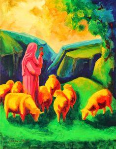 Maureen Bell Sheep Art | Shepherd and Sheep painting Bertram Poole
