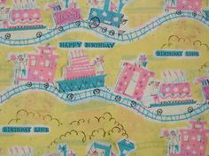 Vintage Gift Wrapping Paper - Birthday Train Line with Cake and Presents  - Happy Birthday