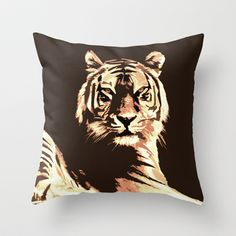 Tiger Throw Pillow by Paula Belle Flores - $20.00