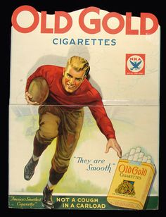 Old Gold Cigarettes football advertising standee c.1930s-1940s. Large 31x40 die cut ad features an image of a football player in action. $350