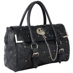 DIA Classic Black Quilted Studded Designer Inspired Satchel Handbag Tote Hobo Bag Purse Price:$29.99 & FREE Shipping and Free Returns