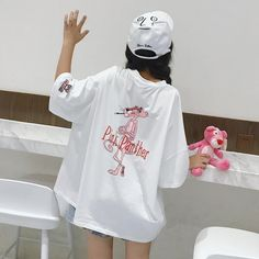 Hong Kong street brand bf popular honey dress loose long section large half sleeve cartoon pink leopard t-shirt female summer ins short sleeve - Taobao