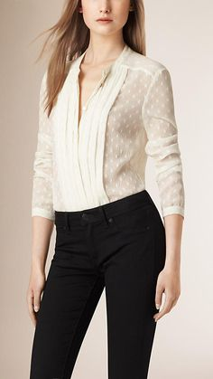 Parchment Pleat Detail Polka Dot Silk Blend Shirt - $450