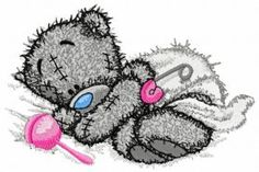 Teddy bear with rattle machine embroidery design. Machine embroidery design. www.embroideres.com