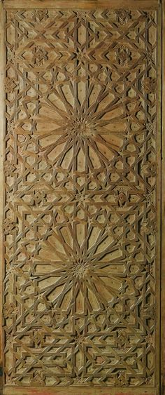 CARVED WOOD DOOR PANEL, LATE CENTURY, decorated with an intricate geometric pattern composed of two large sixteen-pointed stars, interstices filled with smaller stars and polygons. Arabesque, Design Oriental, Plafond Design, Islamic Patterns, Arabic Pattern, Moroccan Design, Panel Doors, Geometric Art, Wood Doors
