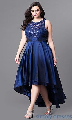 Shop satin plus-size prom dresses at Simply Dresses. Sleeveless formal dresses under $200 with sequined-lace bodices and layered high-low skirts. #clothes#design#style
