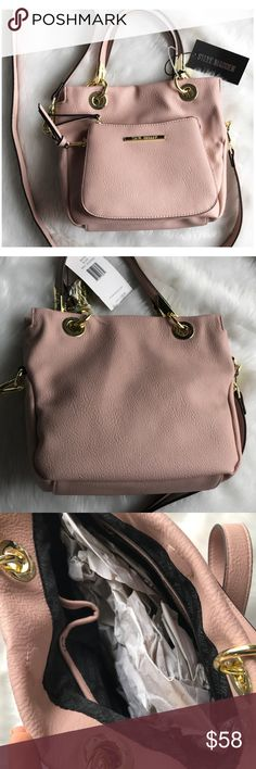 "Steve Madden Purse Listing includes 1 item: One brand new with tag Steve Madden Crossbody in ""Blush"". Faux leather and adjustable strap. Pocket on outside and drop pockets on inside. Magnetic snap closure. Small sized purse. 10"" in length 9"" in height. Smoke free home 💗 Steve Madden Bags Crossbody Bags"