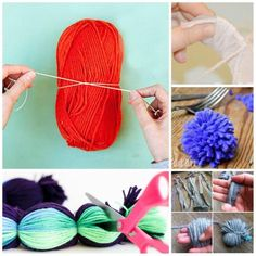 """If you have ever wanted to learn How to make a Yarn Pom Pom.. then you have to take a look at these pom pom making techniques! From giant pom poms, to """"mass produced"""" pom poms, to good ol' cardboard discs. It is all here. Which is YOUR favourite way to make pom poms?"""