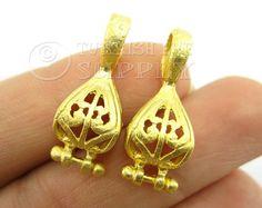 2 pc Earring Companent Pendants Gold Earring por turkisheyesupply