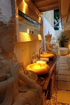 Love the basins Beautiful Balinese Bathroom- get this done indoors and you may not want to step outdoors Balinese Interior, Balinese Decor, Indonesian Decor, Bali Style Home, Zen Style, Balinese Bathroom, Bathroom Spa, Serene Bathroom, Bathroom Lighting