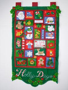 Holly Days, an Advent Calendar, contains twenty four pockets for each day before Christmas.
