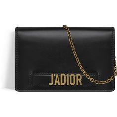 CLUTCH WALLET ON CHAIN J'ADIOR EM COURO DE BEZERRO PRETO ❤ liked on Polyvore featuring bags, handbags, clutches, clutch wallet, chain purse and chain handbags