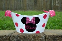Personalized Pink Minnie Mouse bucket/ tub by ihaveafavor on Etsy